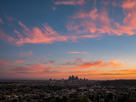 Sunset of the beautiful Los Angeles skyline, California