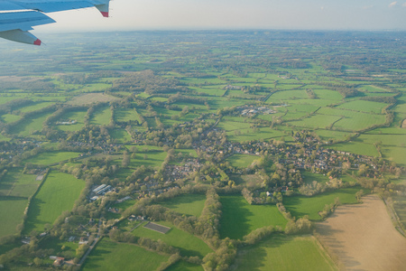 Aerial view of the beautiful landscape around West Sussex at United Kingdom