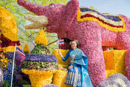 Netherlands, APR 21: The beautiful and colorful flower parade on APR 21, 2018 at Netherlands
