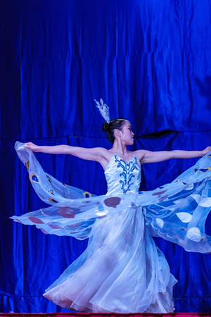 Los Angeles, NOV 21: Chinese Acrobats & Dancers of Moonlight Forest Festival on NOV 21, 2018 at Los Angeles