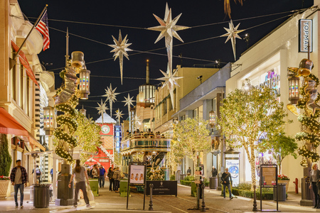 The beautiful christmas tram in The Grove on NOV 27, 2018 at Los Angeles, California