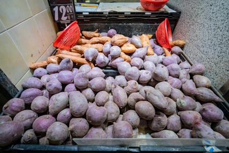 Sweet potatoes selling in the Hong Kong Market - Yat Tung at Tung Chung, Hong Kong