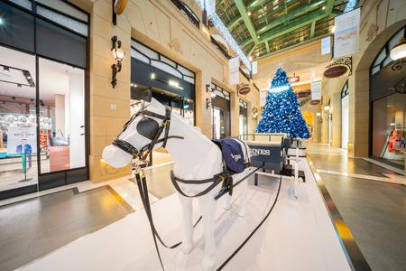 Macau, DEC 24: Buggy and christmas tree inside the Parisian Macao on DEC 24, 2018 at Macau