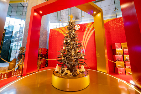 Macau, DEC 24: Chocolate chirstmas tree inside the Grand Lisboa Macau on DEC 24, 2018 at Macau