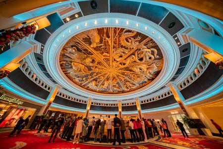 Macau, DEC 24: People waiting for the famous show - Tree of prosperity, Dragon of fortune of Wynn Macau on DEC 24, 2018 at Macau Editorial