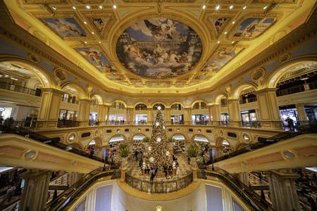 Macau, DEC 24: Interior view of the famous Venetian Macao Casino with a big christmas tree on DEC 24, 2018 at Macau Editorial