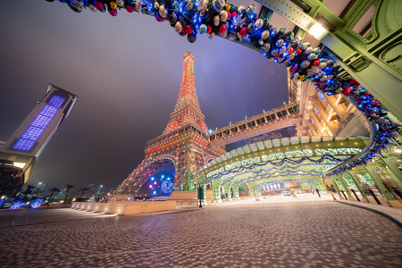 Macau, DEC 24: Night view of the famous The Parisian Macao on DEC 24, 2018 at Macau