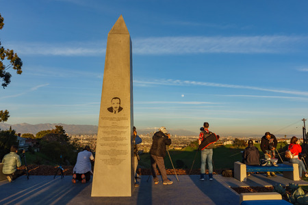 Los Angeles, JAN 20: Sunset view of Martin Luther King Jr monument on JAN 20, 2019 at Los Angeles, California
