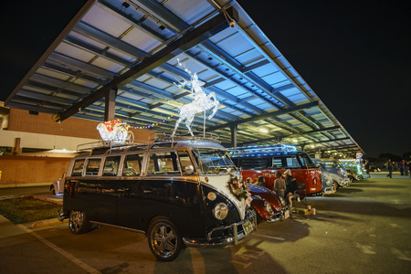 Temple City, DEC 8: Night view of Volkswagen Bettle car party on DEC 8, 2018 at Temple City, Los Angeles County, California