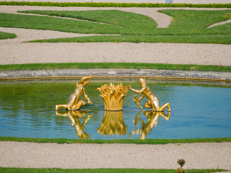 The beautiful garden, fountain of Place of Versailles at France