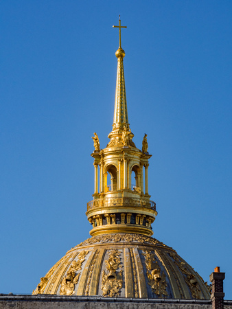 Close up shot of the Army Museum golden roof at Paris, France Editorial
