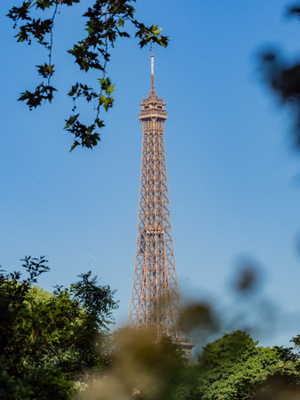 Morning view of the famous Eiffel Tower and downtown citypscape at Paris, France Stock Photo