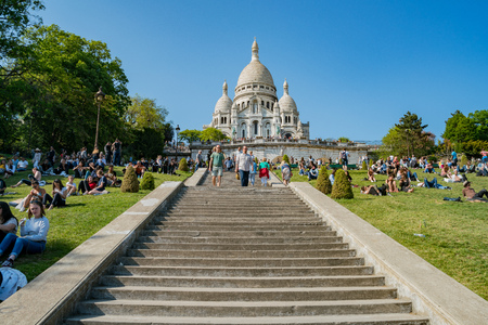 France, MAY 7: Afternoon exterior view of the Basilica of the Sacred Heart of Paris on MAY 7, 2018 at Paris, France Editorial