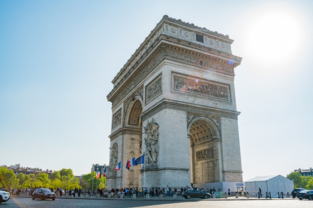 France, MAY 7: Afternoon view of the famous Arc de Triomphe on MAY 7, 2018 at Paris, France