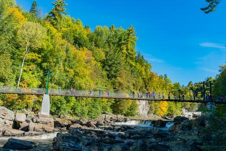 Beautiful fall color of Montmorency Falls at Quebec, Canada