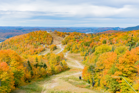 Aerial view of Mont-Tremblant National Park in fall color at Quebec, Canada Banco de Imagens