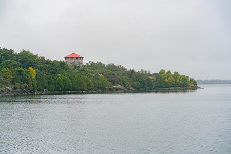 The Cathcart Tower on Cedar Island along St Lawrence River at Kingston, Canada Stok Fotoğraf