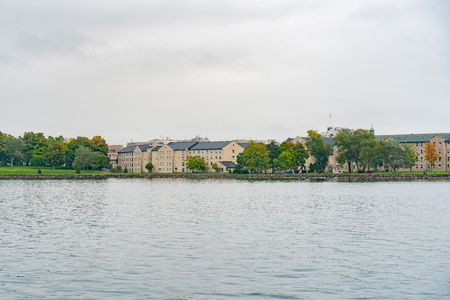 Beautiful Royal Military College along St Lawrence River at Kingston, Canada 版權商用圖片