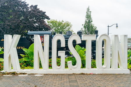 Afternoon view of the Kingston sign at Ontario, Canada