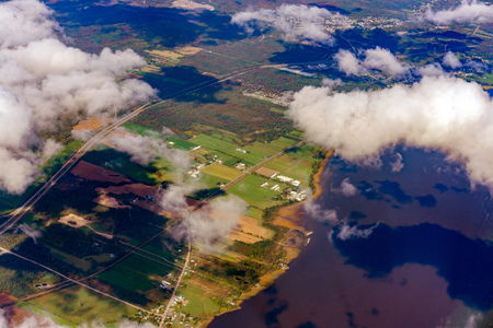 Aerial view of Grondines area, St Lawrence River with fall color at Canada