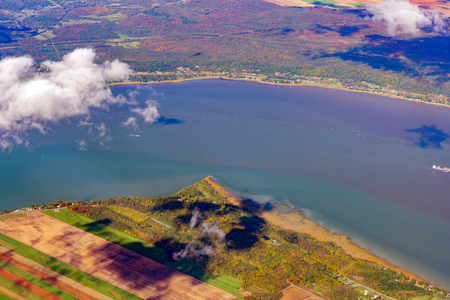 Aerial view of Portneuf and Lotbinière area, St Lawrence River with fall color at Canada