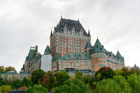 Exterior view of the famous Fairmont Le Chateau Frontenac at Quebec, Canada