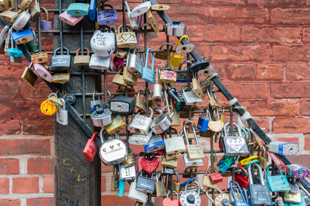 Toronto, OCT 5: Love lock wall in The Distillery Historic District on OCT 5, 2018 at Tornoto, Canada Editorial