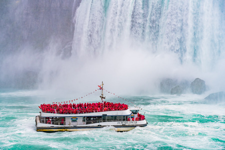 Toronto, SEP 29: Close up of the beautiful Horseshoe Fall with ship nearby on SEP 29, 2018 at Toronto, Canada