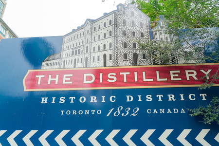 Toronto, OCT 5: Walking in The Distillery Historic District on OCT 5, 2018 at Tornoto, Canada Editorial