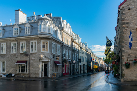 Quebec, OCT 3: Morning view of some beautiful buildings around Rue Saint Louis road area on OCT 3, 2018 at Quebec, Canada