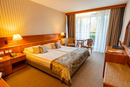 Slovenia, NOV 3: Interior view of a beautiful hotel room in Lake Bled area on NOV 3, 2018 at Slovenia