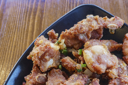 Close up shot of a deep fried Chinese style pork meat, ate at Los Angeles, California