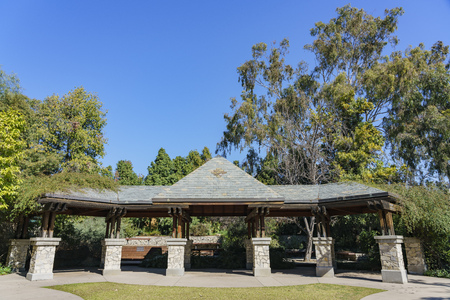 Beautiful Kiosk building with trees at Los Angeles, California