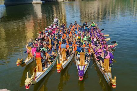Las Vegas, OCT 13: Cancer survivor memorial event in the famous Rose Regatta Dragon Boat Festival on OCT 13, 2018 at Las Vegas, Nevada Editorial