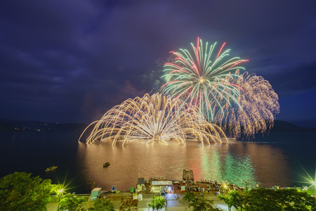 Night view of fireworks in the Lake Toya Onsen Festival at Hokkaido, Japan Stock Photo