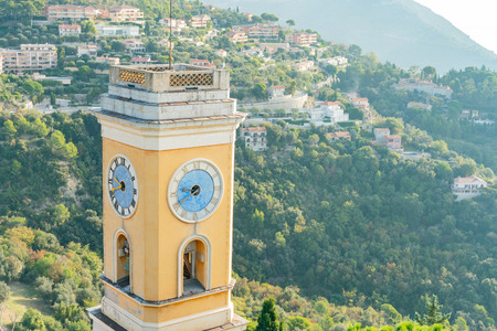 Aerial view of the historical Church of Our Lady of the Assumption of Eze near Nice, at France