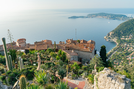 Aerial view of the Exotic Garden and Eze Village near Nice, at France