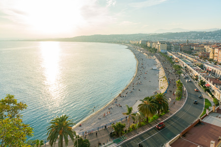 Aerial sunset view of the famous Angel's Bay, Nice at France Standard-Bild - 118529670