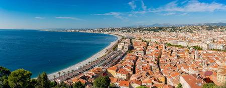 Aerial morning view of the famous Angel's Bay with downtown cityscape, Nice at France Standard-Bild - 118549069