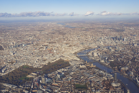 Aerial view of cityscape around London near sunset time Stock Photo