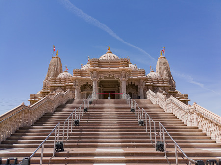 Exterior view of the famous BAPS Shri Swaminarayan Mandir at Chino Hills, California