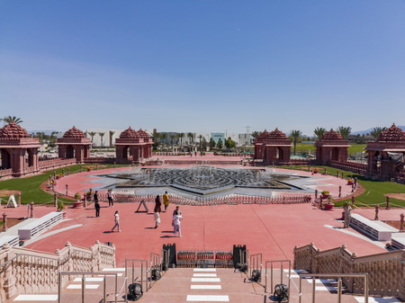 Chino Hills, MAR 31: Exterior view of the famous BAPS Shri Swaminarayan Mandir on MAR 31, 2019 at Chino Hills, Los Angeles County, California Editorial