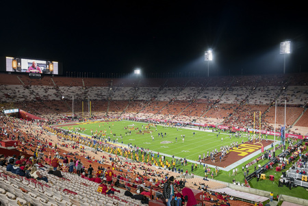 Los Angeles, MAR 26: Night view of USC marching band in the football field on MAR 26, 2016 at Los Angeles, California Editöryel