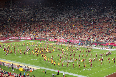 Los Angeles, MAR 26: Night view of USC marching band in the football field on MAR 26, 2016 at Los Angeles, California Editorial