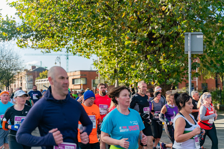 Dublin, OCT 28: Many people running in the 2018 KBC Dublin Marathon on OCT 28, 2018 at Dublin, Ireland