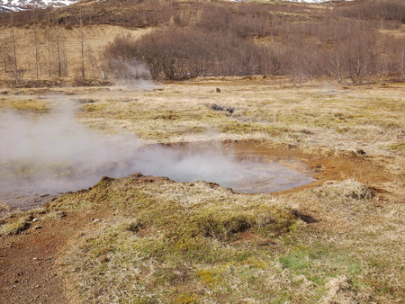 Sunny view of The Great Geysir at Iceland
