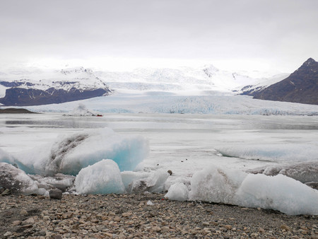 Cloudy view of the glacial lake at Iceland