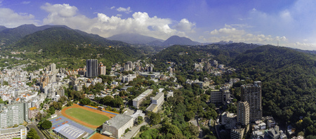 Aerial view of the metro line and cityscape of Xinbeitou area at Taipei, Taiwan