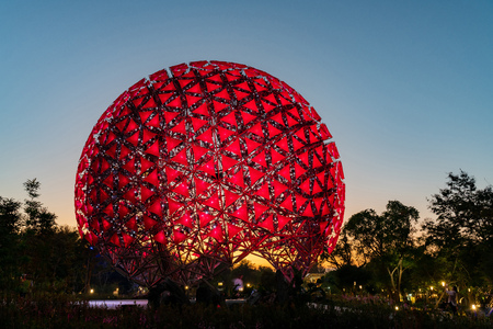 Taichung, DEC 22: Night view of the famous Machine flower of Taichung World Flora Exposition on DEC 22, 2018 at Taichung, Taiwan Redakční