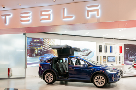 Taipei, DEC 17: Interior view of a Tesla selling center displaying Model X on DEC 17, 2018 at Taipei, Taiwan Editorial